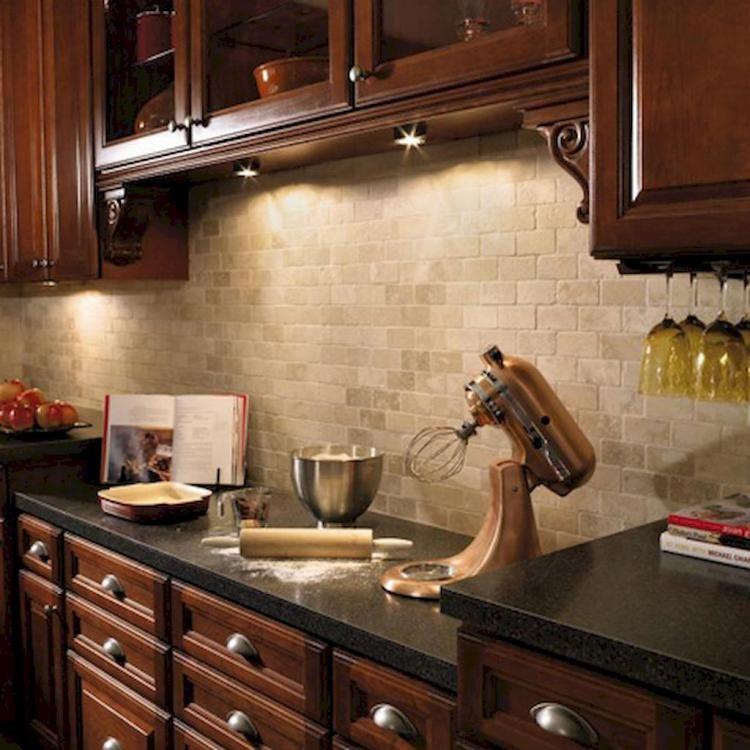 70 Gorgeous Kitchen Backsplash Decor With Dark Cabinets Cherry Cabinets Kitchen Dark Wood Kitchen Cabinets Wood Kitchen Cabinets