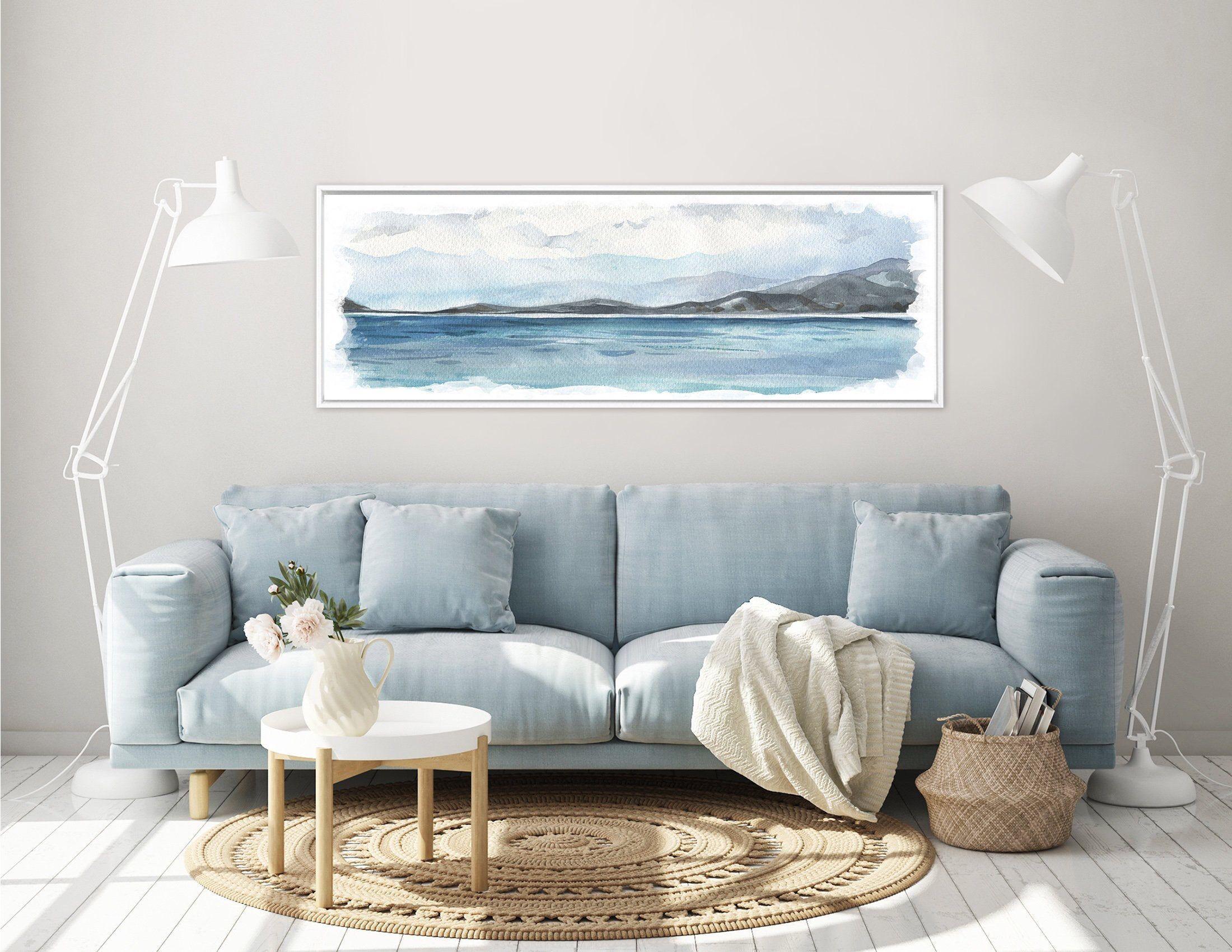 Blue coastal landscape painting contemporary watercolor
