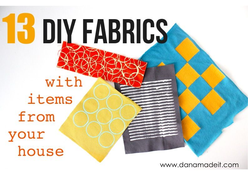 What a great round-up of DIY Fabrics…with items from around the house from MADE. I'm pinning it to my crafty eye for little guys board, because I think these techniques would be a lot of fun for acrylic paints, too (get out the giant drop cloths!).