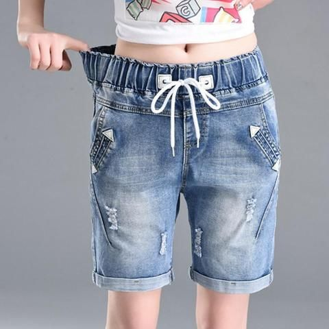 f73dd310a OHRYIYIE Plus Size 6XL High Waist Denim Shorts Women 2018 New Summer  Elastic Waist Jeans Shorts Femme Loose Hole Curling Shorts