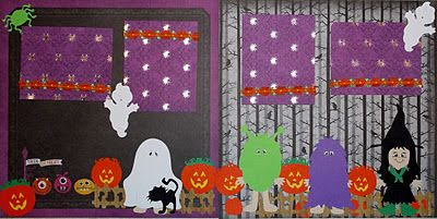 Scrap This Save That: Halloween double page layout featuring the Paper Dolls Dress up Cricut cartridge and DCWV cardstock.