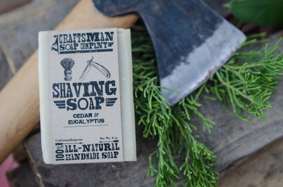 Shaving Soap, Cedar & Eucalyptus with Bentonite. 100% All-Natural Handmade Soap.