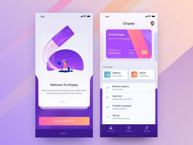Private Bank App Design App design, Ios app design, App
