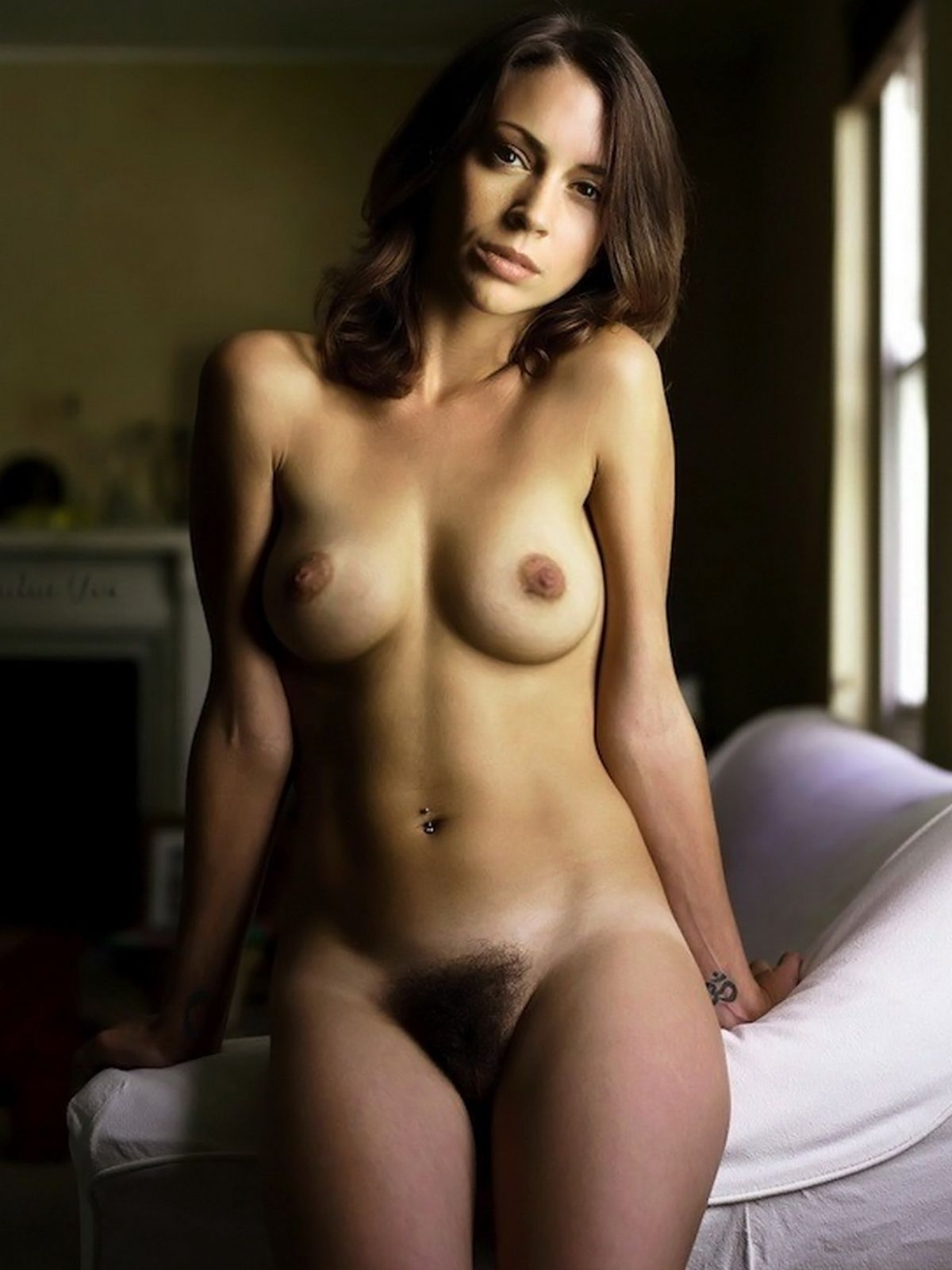 alyssa milano full naked pose - her beautiful bush is all natural