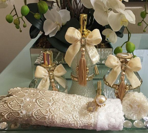 Kit Banheiro Casamento Luxo : Kit lavabo luxo veludo pe?as sabonete de