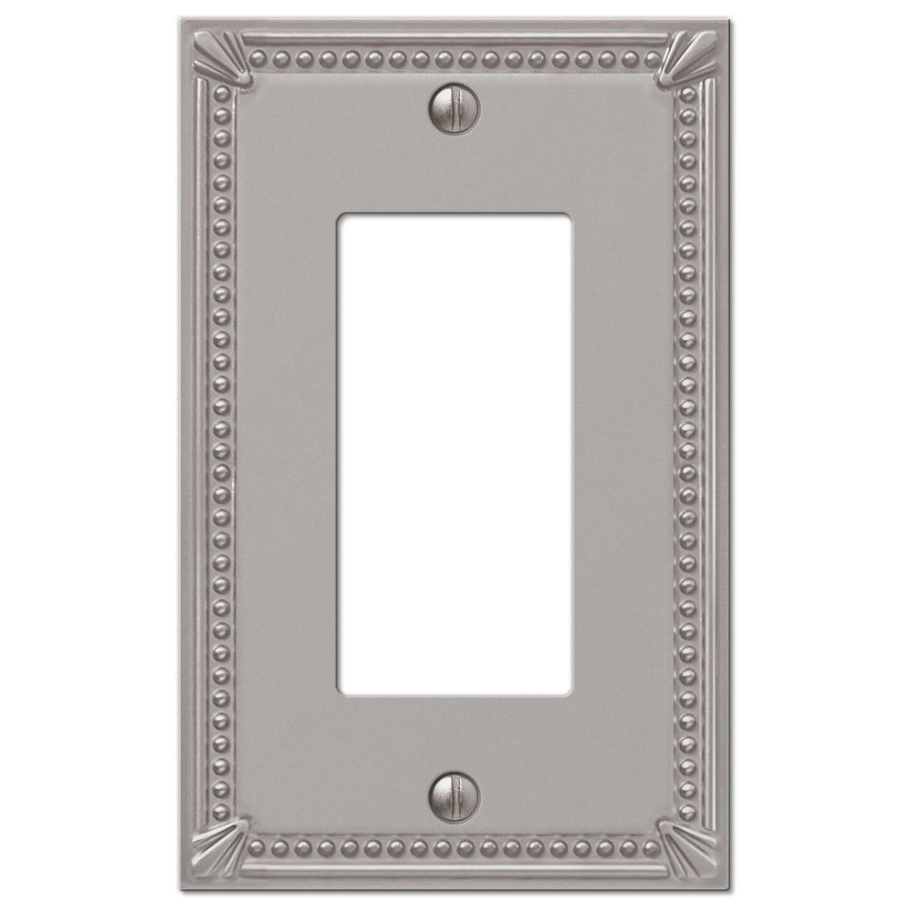 Amerelle Wall Plates Imperial Bead Brushed Nickel Cast  1 Rocker Wallplate  Brushed