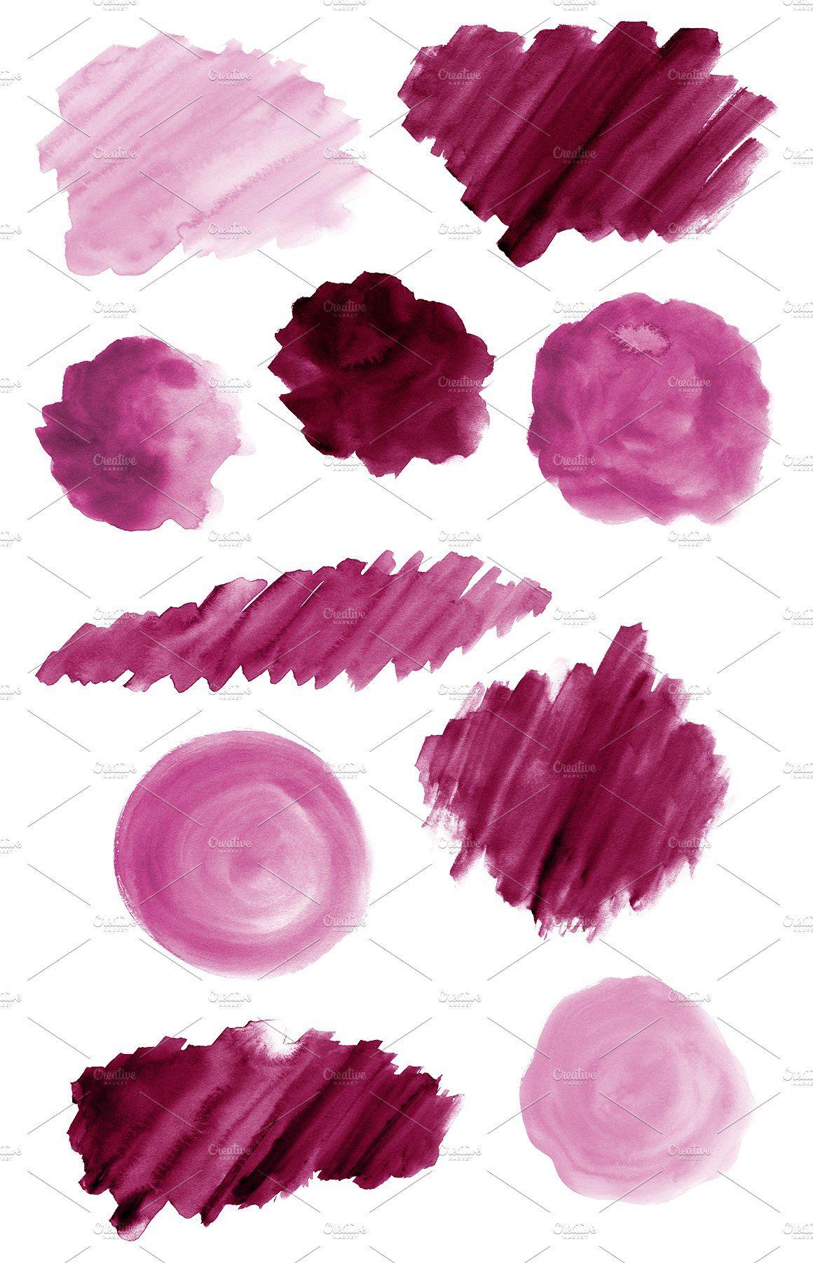 50 Pink Watercolor Shapes Ad Ad Splotches Circles Strokes