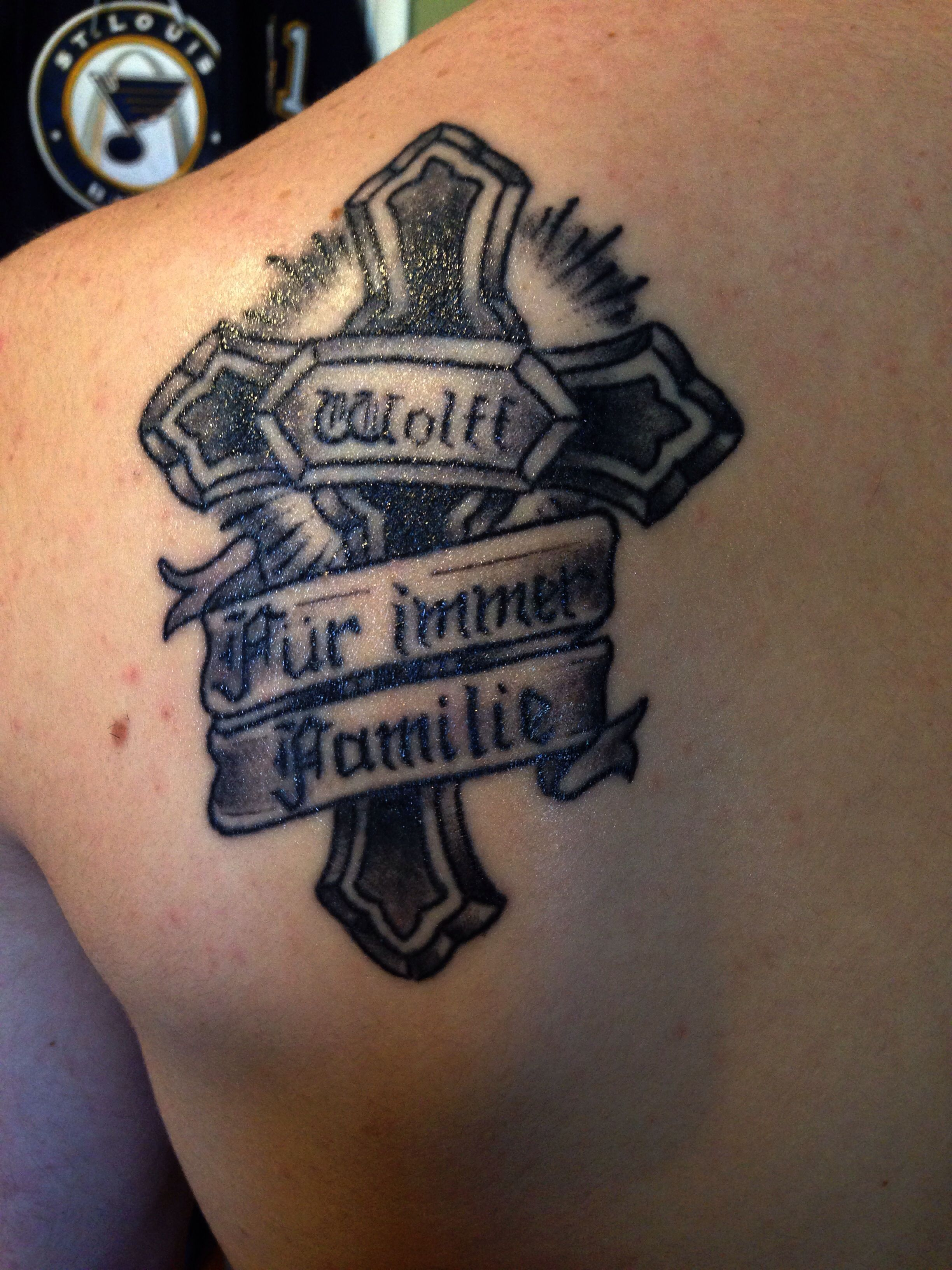 Cross tattoo with family last name and forever family in german cross tattoo with family last name and forever family in german publicscrutiny Gallery