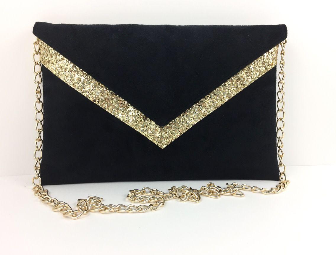 587206eb98007 Sac Pochette de soirée mariage noire en suédine et paillettes dorées chaîne  dorée : Sacs à main par fil-des-toiles