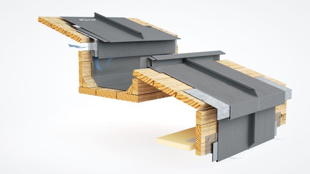 Ventilated Hidden Eaves Box Gutter Detail In Zinc Zinc Roof Box Gutter Zinc Cladding