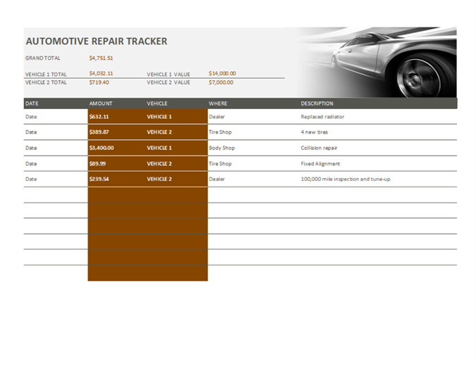 track your vehicle maintenance and repair expenses with