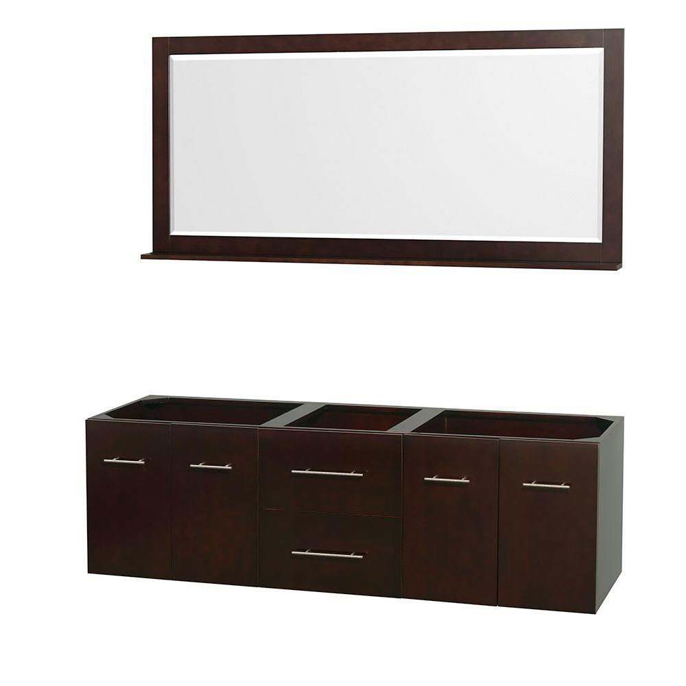Wyndham Collection Centra 71 in. Double Vanity Cabinet with Mirror in Espresso