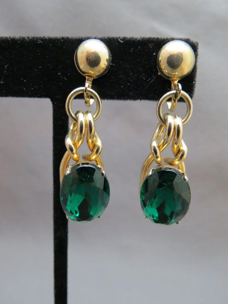 VTG Coro Earring Huge Green Glass Rhinestone Dangle Stone Gold Plated Screw Back SOLD!