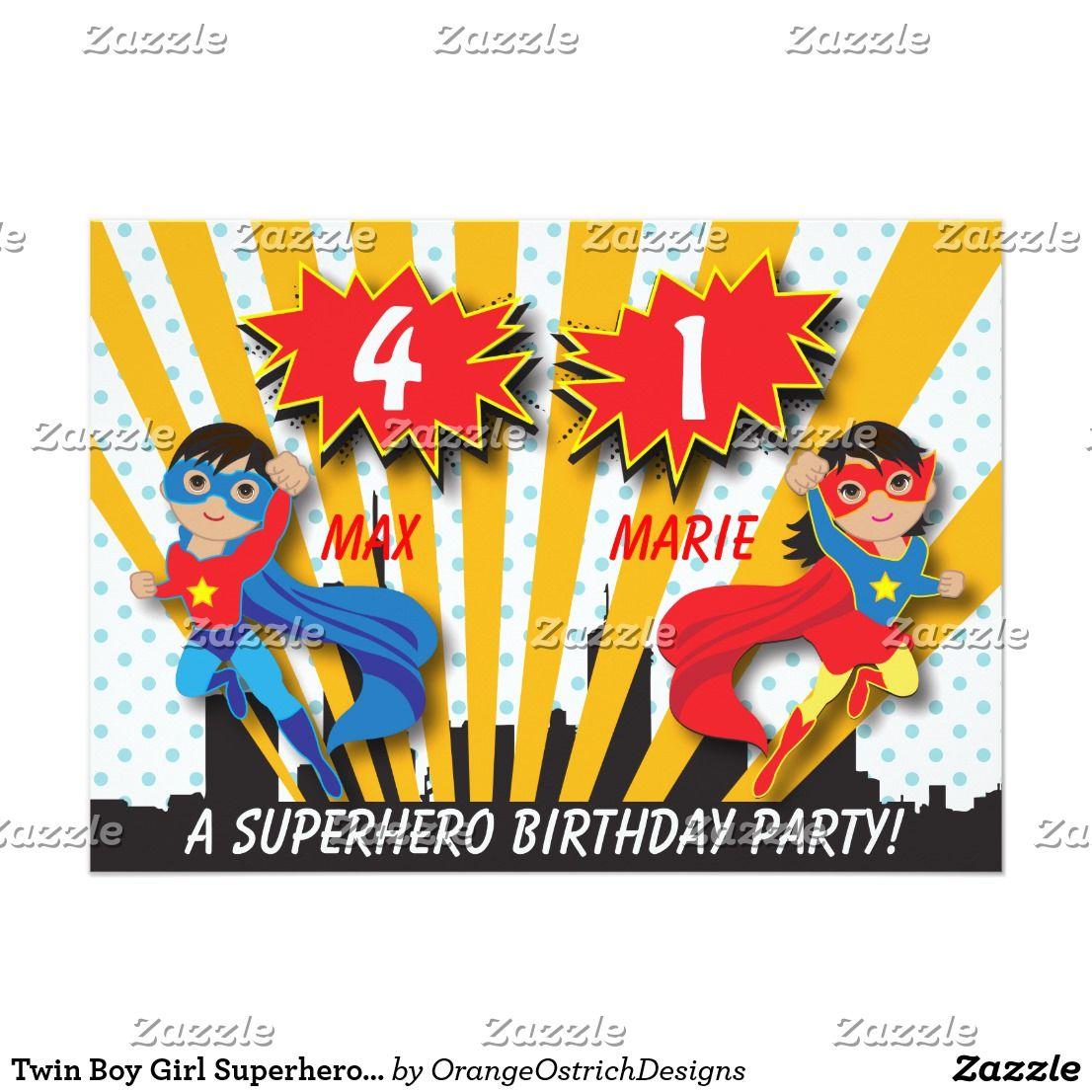 Twin Boy Girl Superhero Birthday Card Twin Boys Superhero And