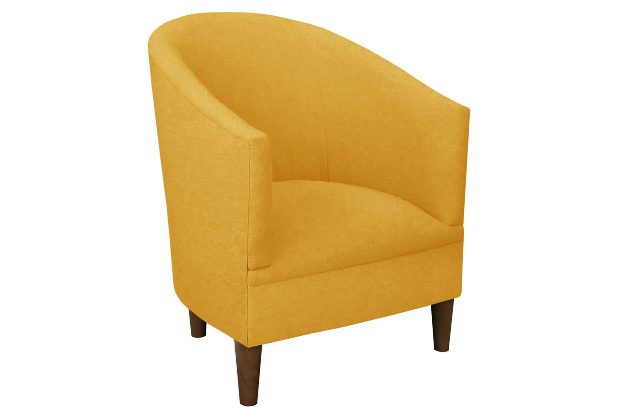 Ashlee Barrel Chair Mustard Linen With Images
