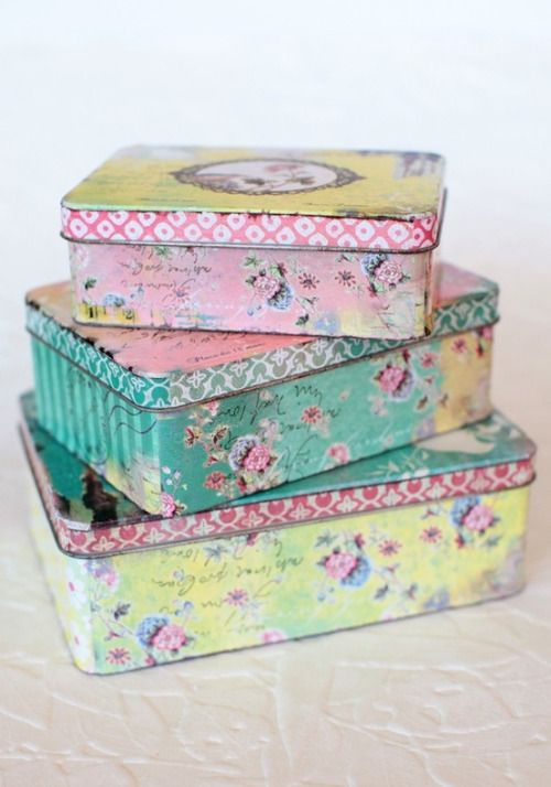 -these are actually tin boxes, but I like the idea of decoupaging with this style and colors-
