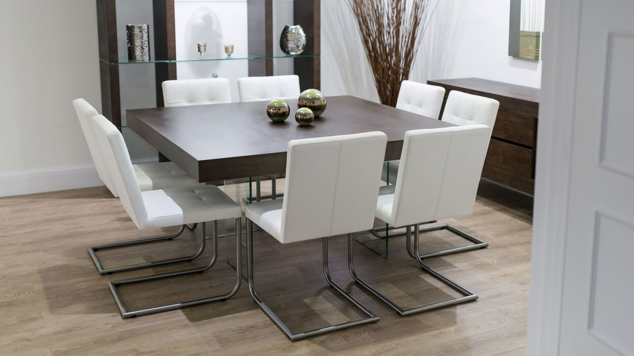 Modern Square Dark Wood Dining Set Glass Legs Real Leather