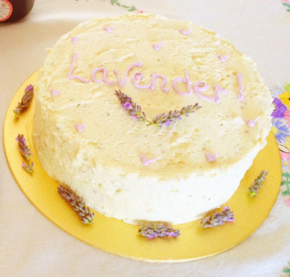 Lavender sponge cake with lavender and vanilla frosting.
