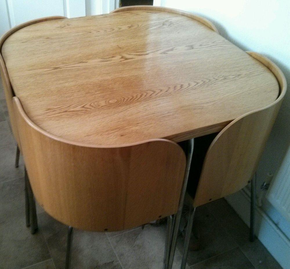 ikea fusion kitchen dining set table 4 chairs oak veneer laya ni