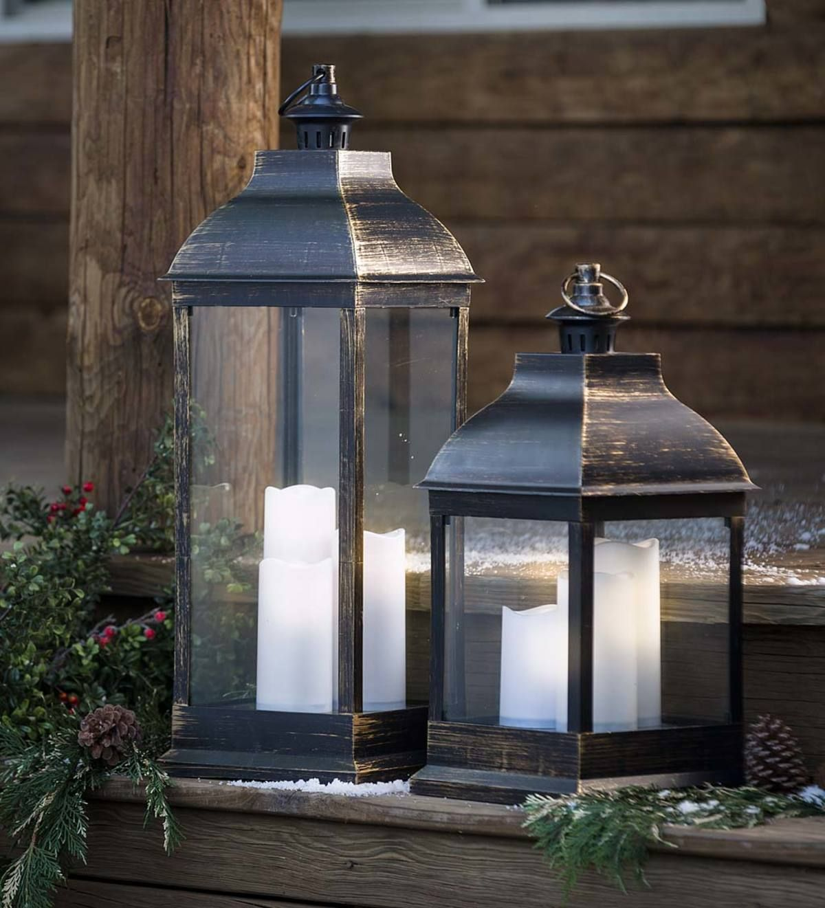 Indoor Outdoor Lantern With Led Candles Is An Elegant Way To Add Decorative Ambient L Outdoor Lanterns Decorative Led Lantern Decorating With Christmas Lights