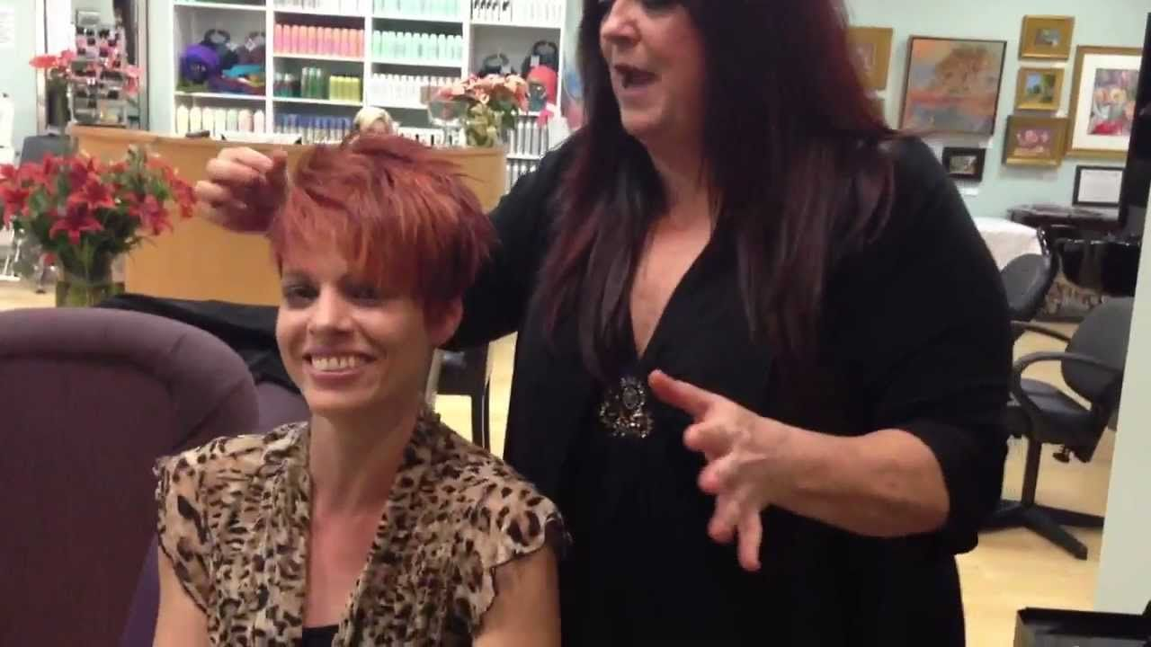 Intense red hair color with short textured cut hair bobs