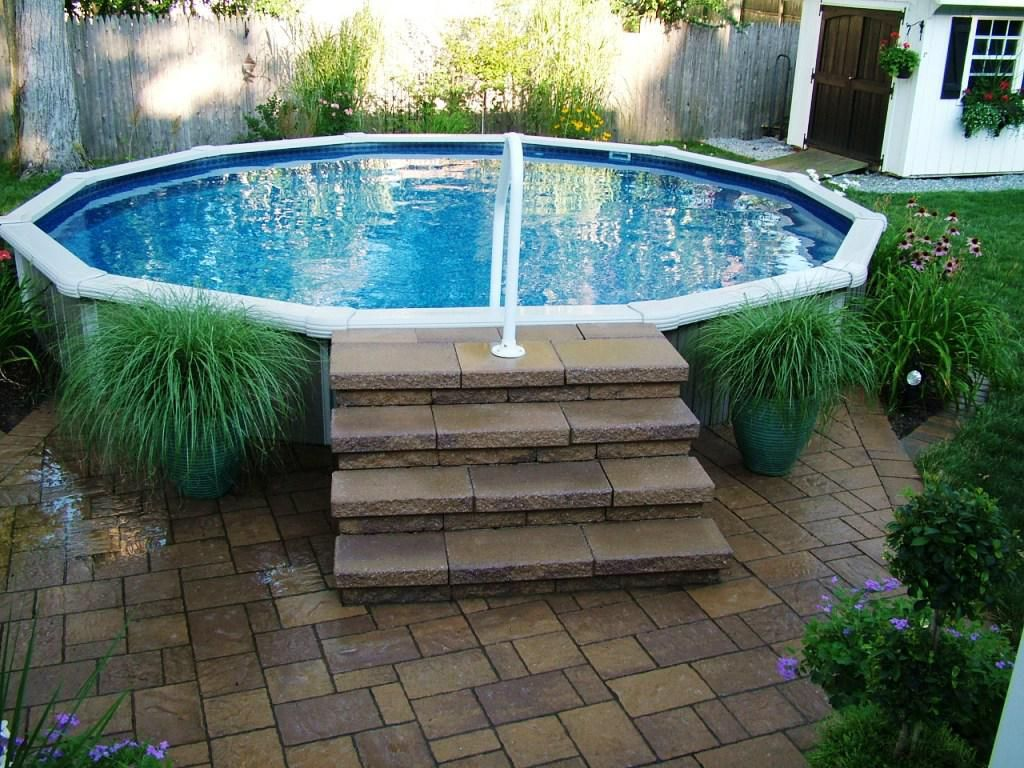 Pool supplies above ground steps our tiny home pool for Above ground pool ladder ideas