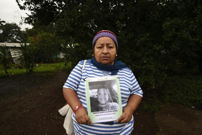 Ana Claribel Mendoza, from El Salvador, is looking for her son, Marvin Alberto Guerra Gomez, who disappeared in Mexico in 2013, on his way to the United States. (Photo by Federico Barahona)
