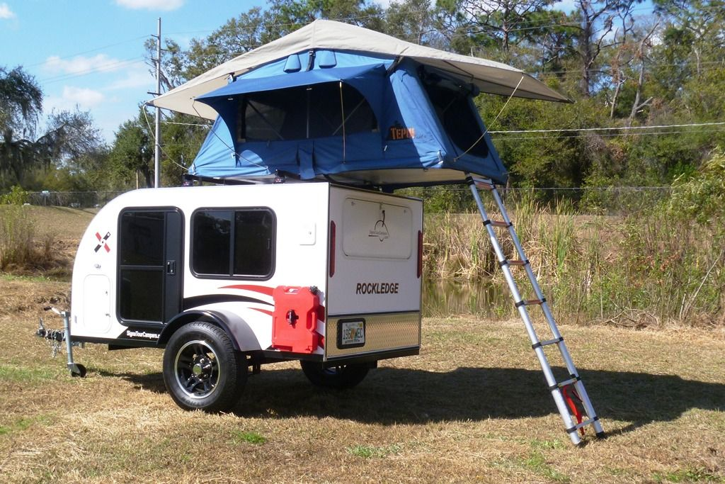 Teardrop Camper Trailer With Roof Top Tent Sleeps 4 Cool Idea