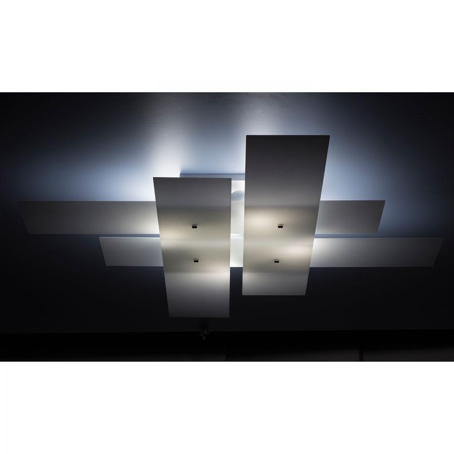 Lampada da parete o soffitto Bandiera - Vetro/Acciaio Bianco 4 luci