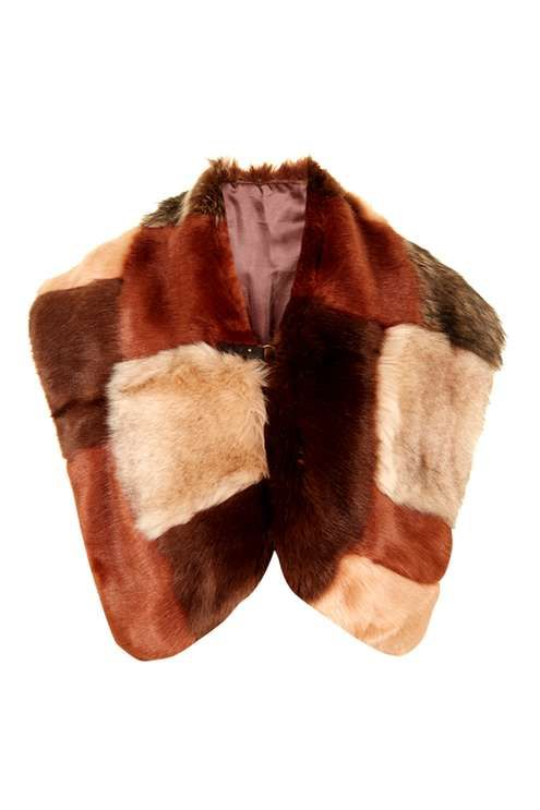 Patchwork Faux Fur Cape