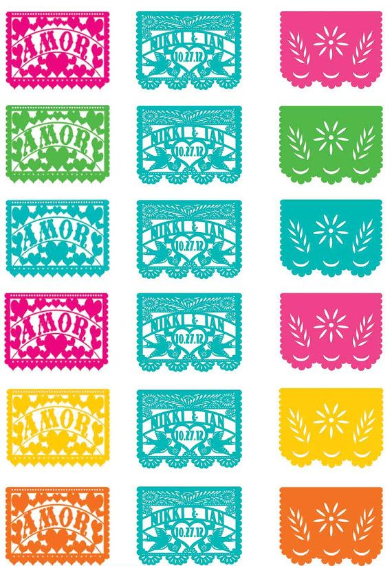 Cupcake toppers Love Birds Papel Picado banner Fiesta Wedding
