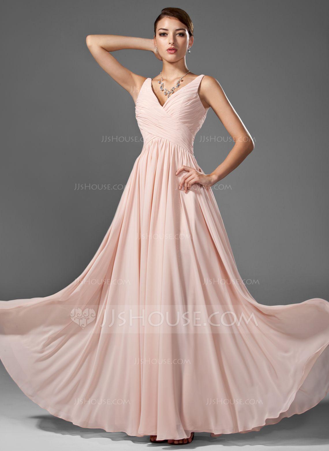 A-Line/Princess V-neck Floor-Length Chiffon Prom Dress With Ruffle ...