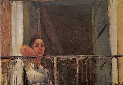 Luigi Crisconio (Napoli 1893 - 1946) Elisa al balcone 1930 olio su tela cm 30x42,5 Salerno Coll. Privata