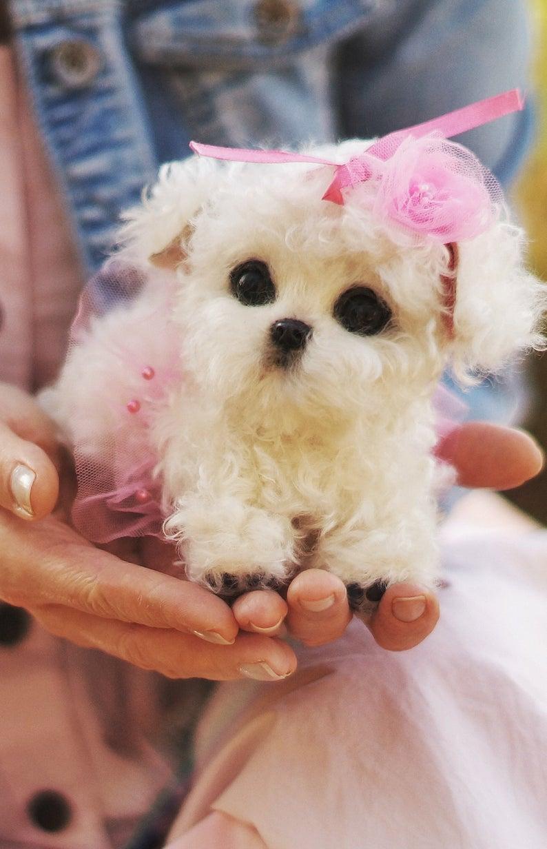 Maltese Puppy Puppy Stuffed Animal Soft Sculpture Realistic Etsy Pet Puppy Maltese Puppy Pet Toys [ 1232 x 794 Pixel ]