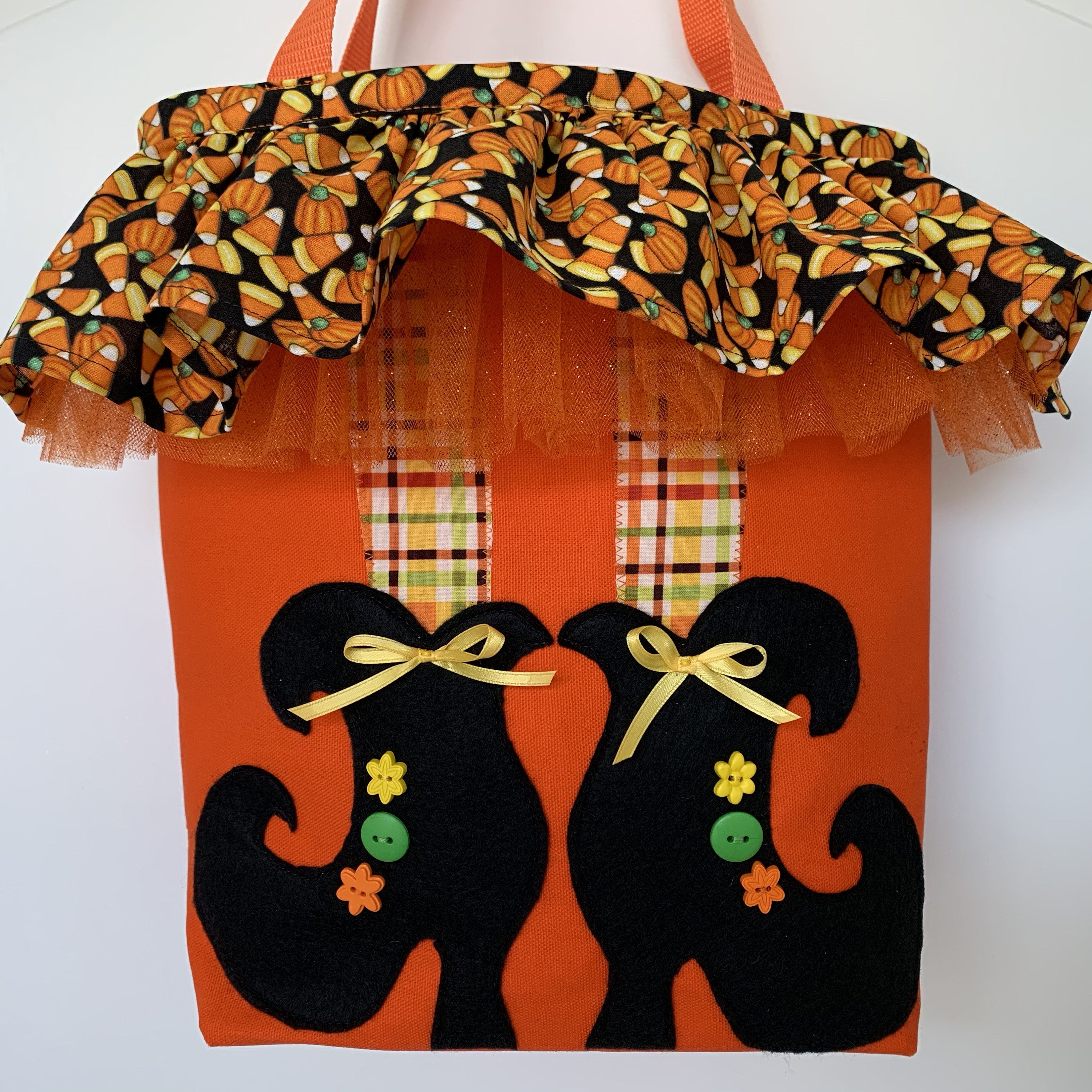 Handmade orange canvas trickortreat tote bag with