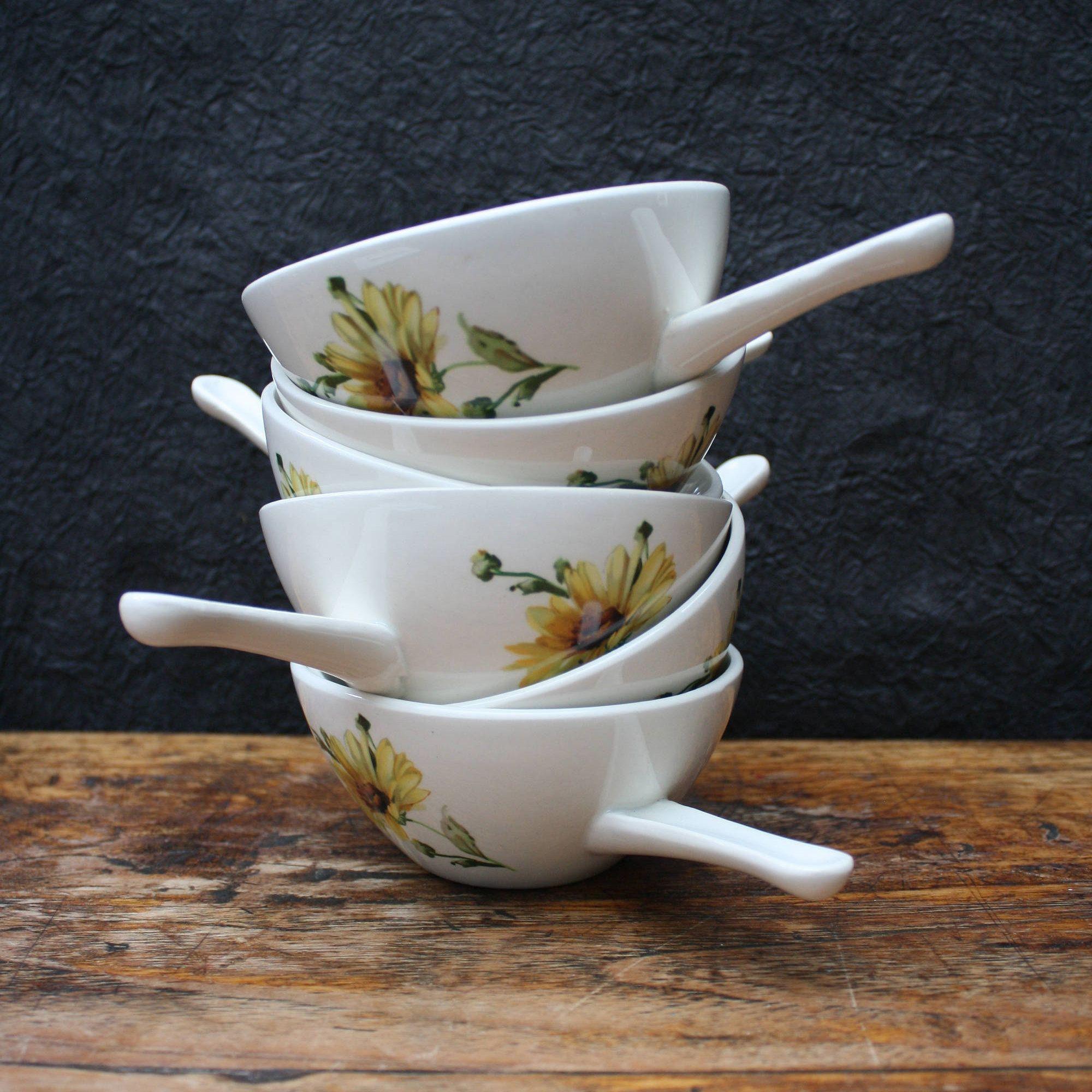 Boch Belgium, retro soup bowls with handles, vintage bowls, retro ...