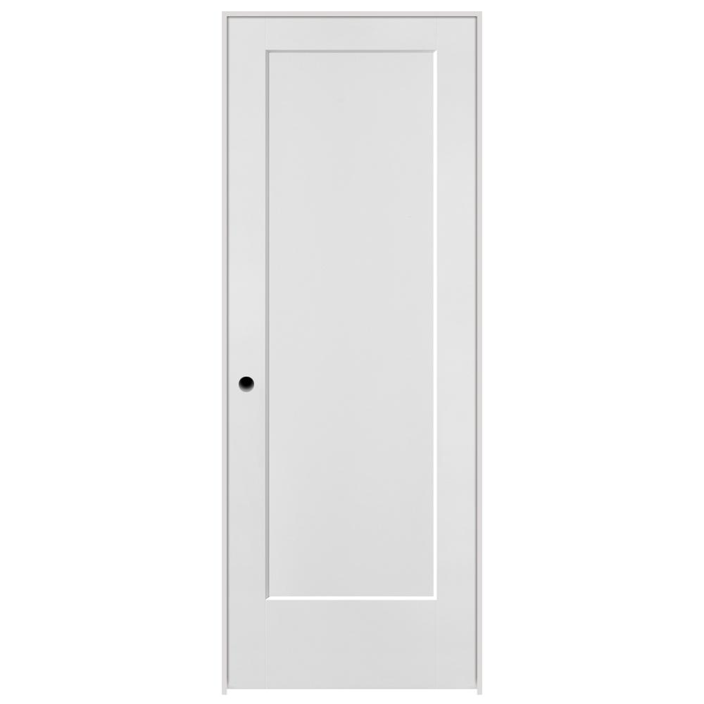Masonite 30 In X 80 In Lincoln Park Primed Left Hand 1 Panel Solid Core Composite Single Prehung Interior Door With Flat Jamb 92378 The Home Depot Doors Interior Prehung Interior Doors