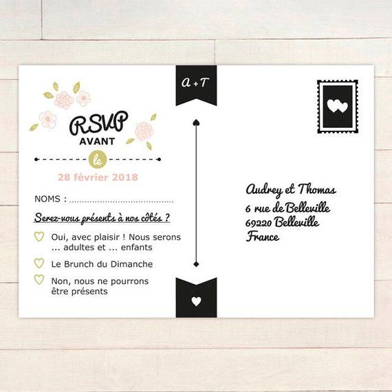 Customizable Wedding Reply Card, Postcard, Chic and Country Wedding, Printable Reply Cardboard