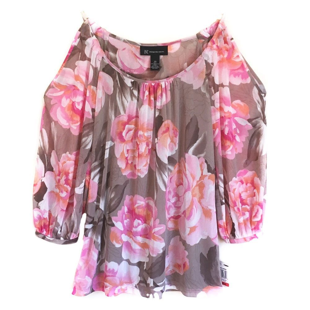 571cd9e1a3f8b INC International Concepts NEW Cold Shoulder Peasant Top Pink Gray Floral  XS  INCInternationalConcepts  Blouse