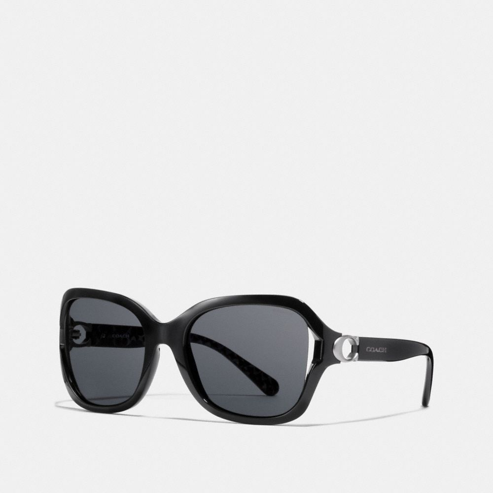 Coach Signature Hardware Rectangle Sunglasses - Black One