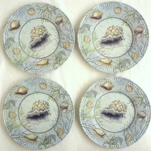 "Set of 4 Melamine Seashell Shell Design Plates with Seahorse Accent - Sea Treasures - Beaded Texture Rim - 9"" Diameter Keller Charles http://www.amazon.com/dp/B00I7YUFJ2/ref=cm_sw_r_pi_dp_FPinub02CJHS3"