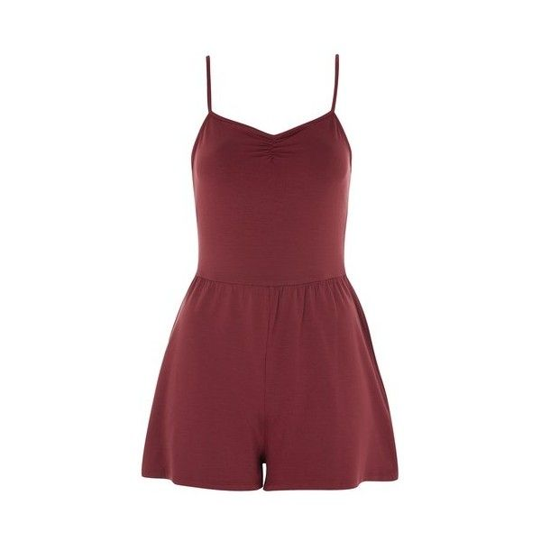 Topshop Tie Strappy Playsuit ($15) ❤ liked on Polyvore featuring jumpsuits, rompers, raspberry, topshop rompers, red romper, tie-dye rompers, topshop romper and red rompers