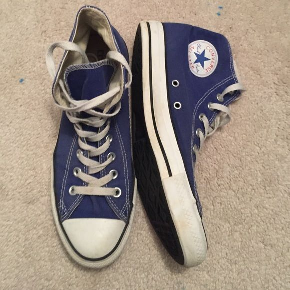 Blue converse high tops mens 8 womans 9.5 Converse Shoes Sneakers 5bb088aa478a