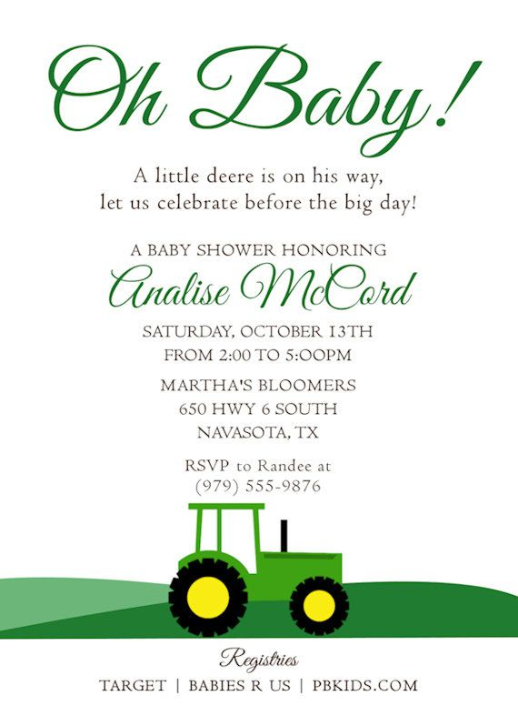 Printable Baby Shower Invitation Tractor Theme John Deere For