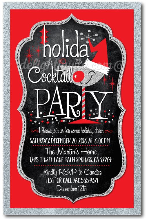 retro santa christmas cocktail party invitations - Christmas Cocktail Party Invitations