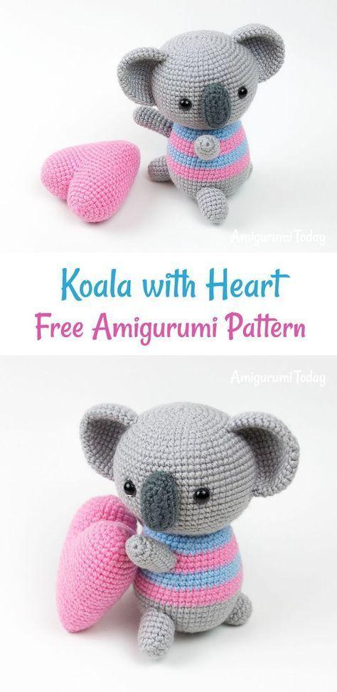 Amigurumi koala with heart pattern | amigurumi | Pinterest | Croché ...