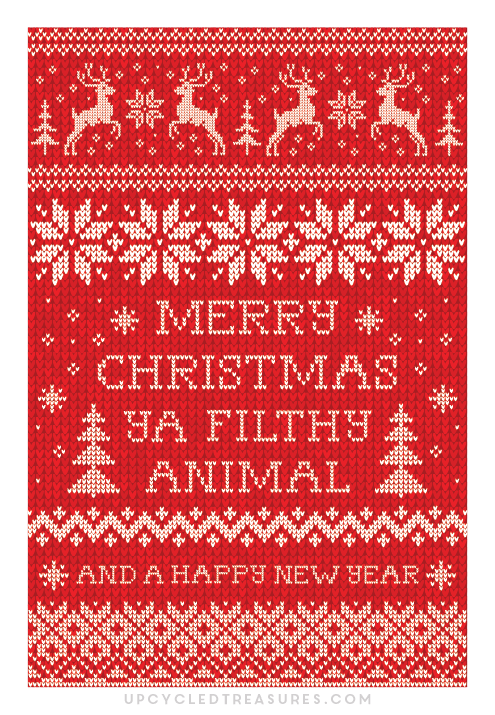 photograph relating to Free Printable Funny Christmas Cards called Merry Xmas Ya Dirty Animal Printable Xmas Card