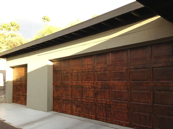 Metal Effects Iron Reactive Rust Finish on Garage Doors | Project by Jen Brooks and featured on the Modern Masters Cafe Blog