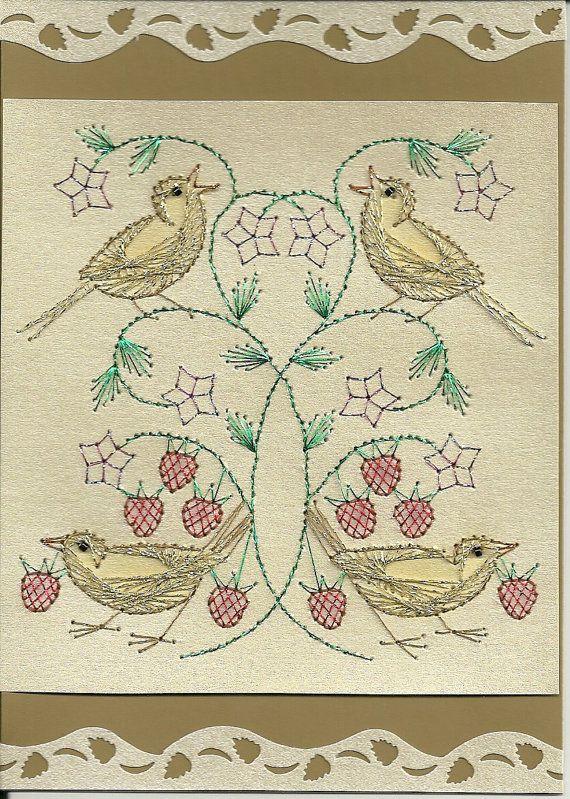 WM Strawberry Thief Stitched Card by stitchingcoop1234 | TAPIZ... Y ...