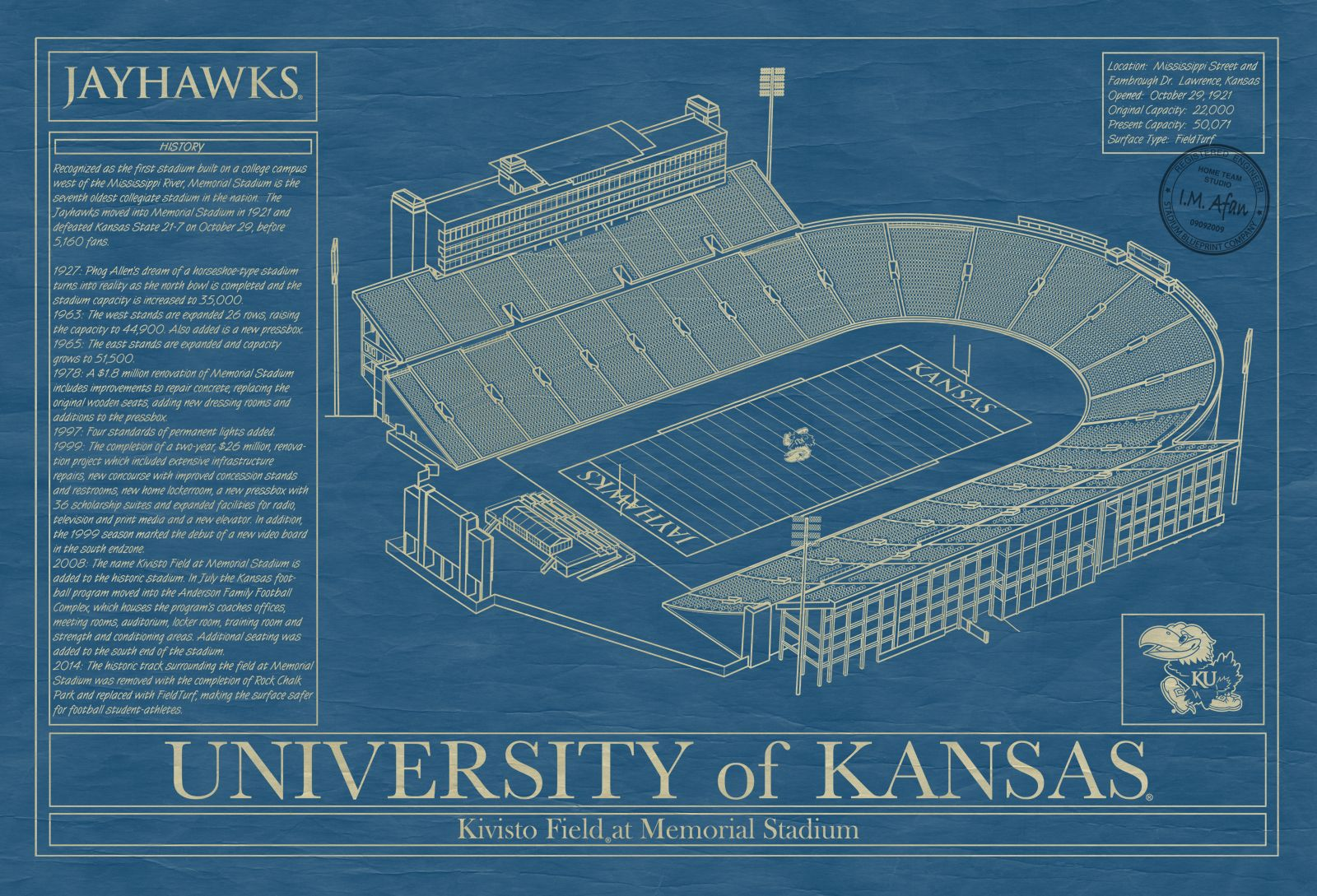 The university of kansas stadium as a unique piece of blueprint the university of kansas stadium as a unique piece of blueprint style farmed art malvernweather Images